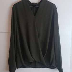 Mossimo Military Green Drape Blouse XXL